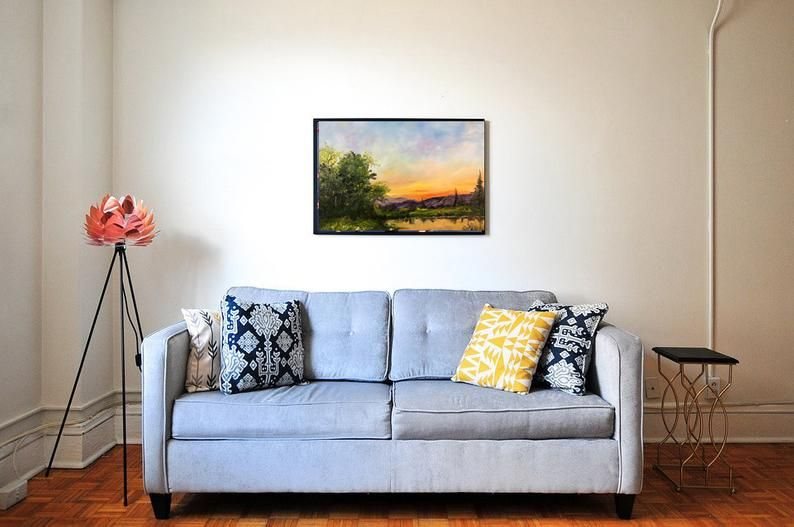 Evening Glow – Pintura al óleo original, Inspirado bobross, pintura al óleo sobre lienzo estirado 16×20
