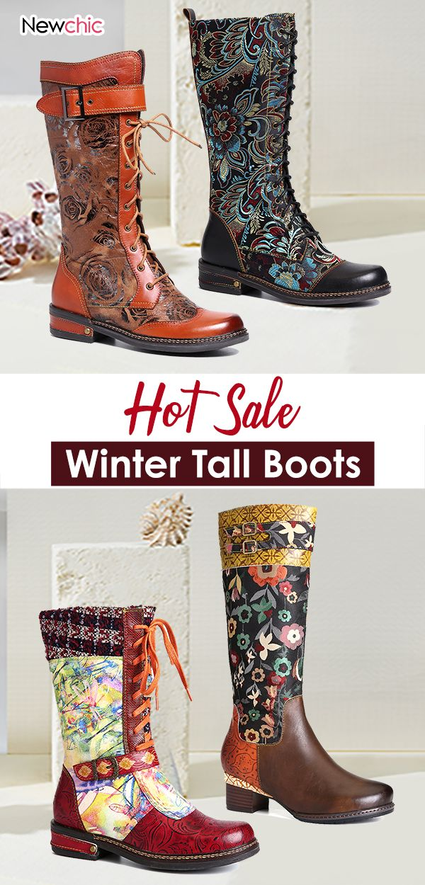 women winter tall boots. #flatboots #womenfloralshoes #strikkedesjaler