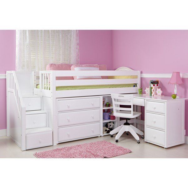 Twin Low Loft Bed With Stairs Storage Desk Low Loft Beds