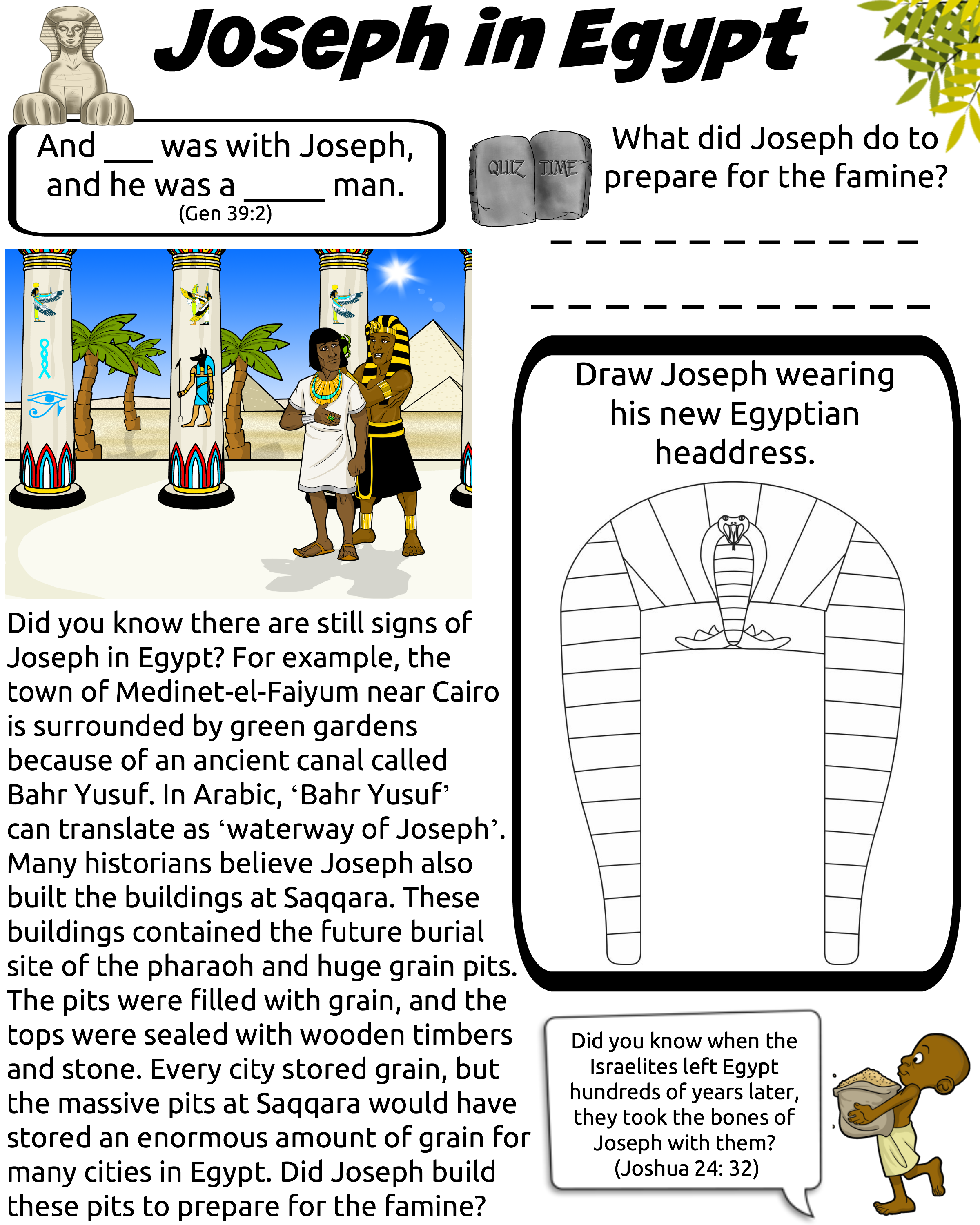 Joseph Bible Worksheet For Kids