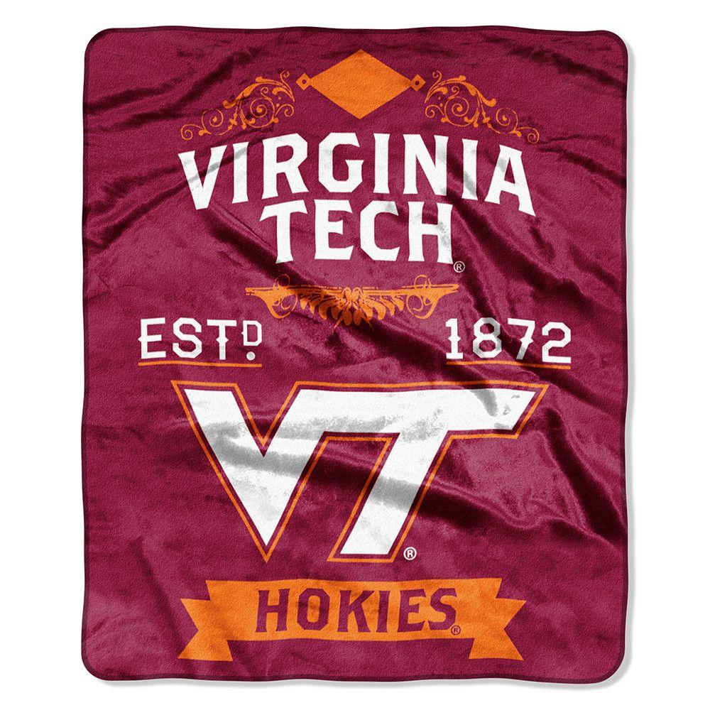 The virginia tech blanket has a decorative binding around the edges