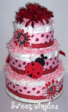 Three Tier Red And Pink Ladybug Diaper Cake Diaper Cake, Shower Centerpiece
