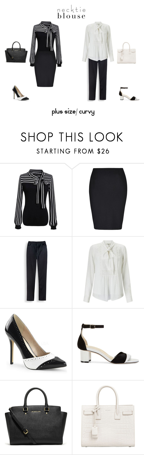 """""""Plus Size/ Curvy Necktie Blouse Outfits"""" by jessicasanderstx ❤ liked on Polyvore featuring City Chic, Blair, Somerset by Alice Temperley, Sarah Flint, Michael Kors, Yves Saint Laurent and necktieblouse"""