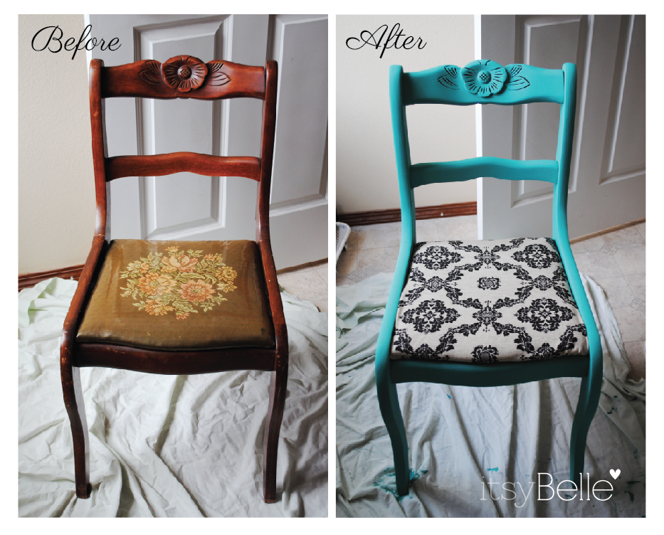 Vintage Chairs Makeover with Chalk Paint - Itsy BelleItsy Belle - Easy Retro Chair Makeover Using 1/2 Chalk Paint & !/2 Behr Flat