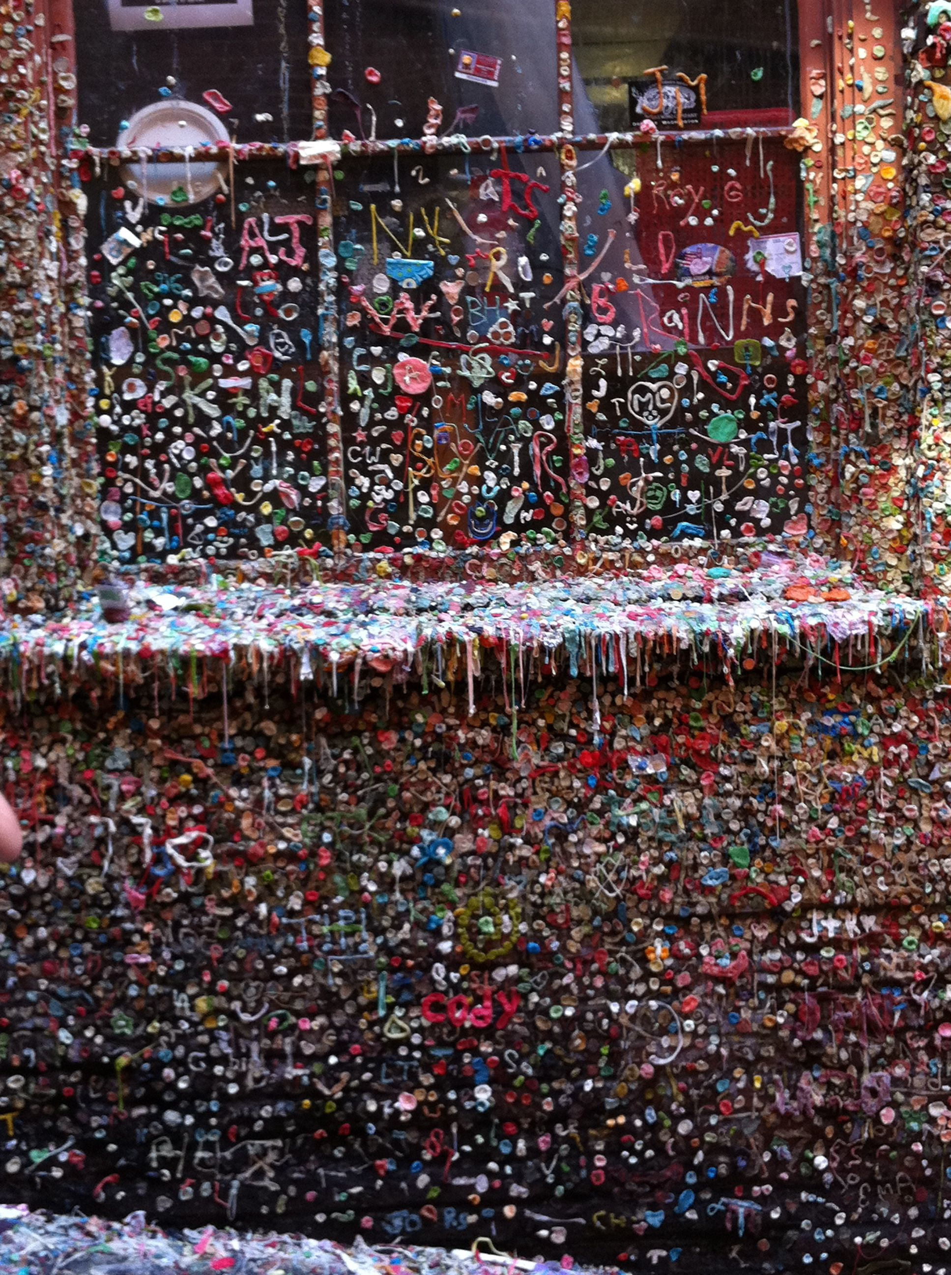 Gum wall in pike place market alley pike place market