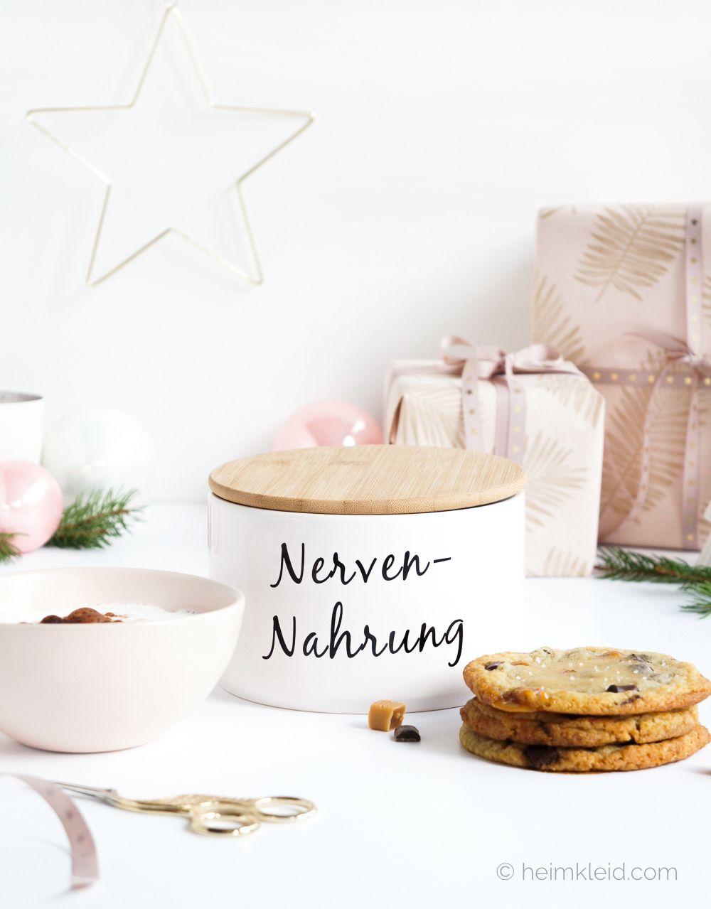 Weihnachtsgebäck   Keksdose Nervennahrung und Jumbo Tasse in Rosa ...