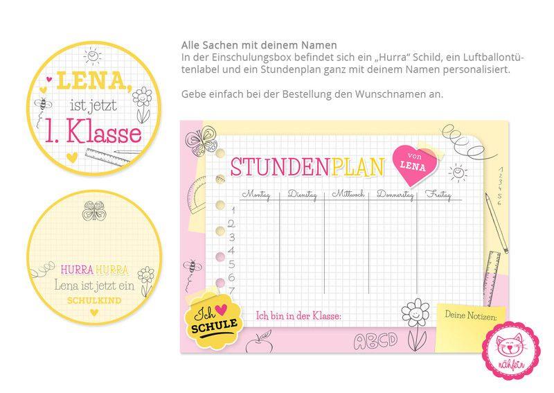 Stundenplan - Einschulungsbox | Stundenplan Notizblock Pink - ein Designerstück…