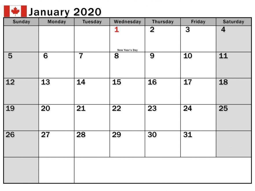 January 2020 Calendar With Holidays Us Uk Canada Australia
