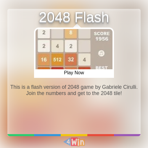 This is a flash version of 2048 game by Gabriele Cirulli