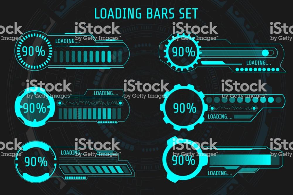 Hud Futuristic Element Loading Bars Set Vector Background Abstract Futuristic Technology Futuristic Loading Bar