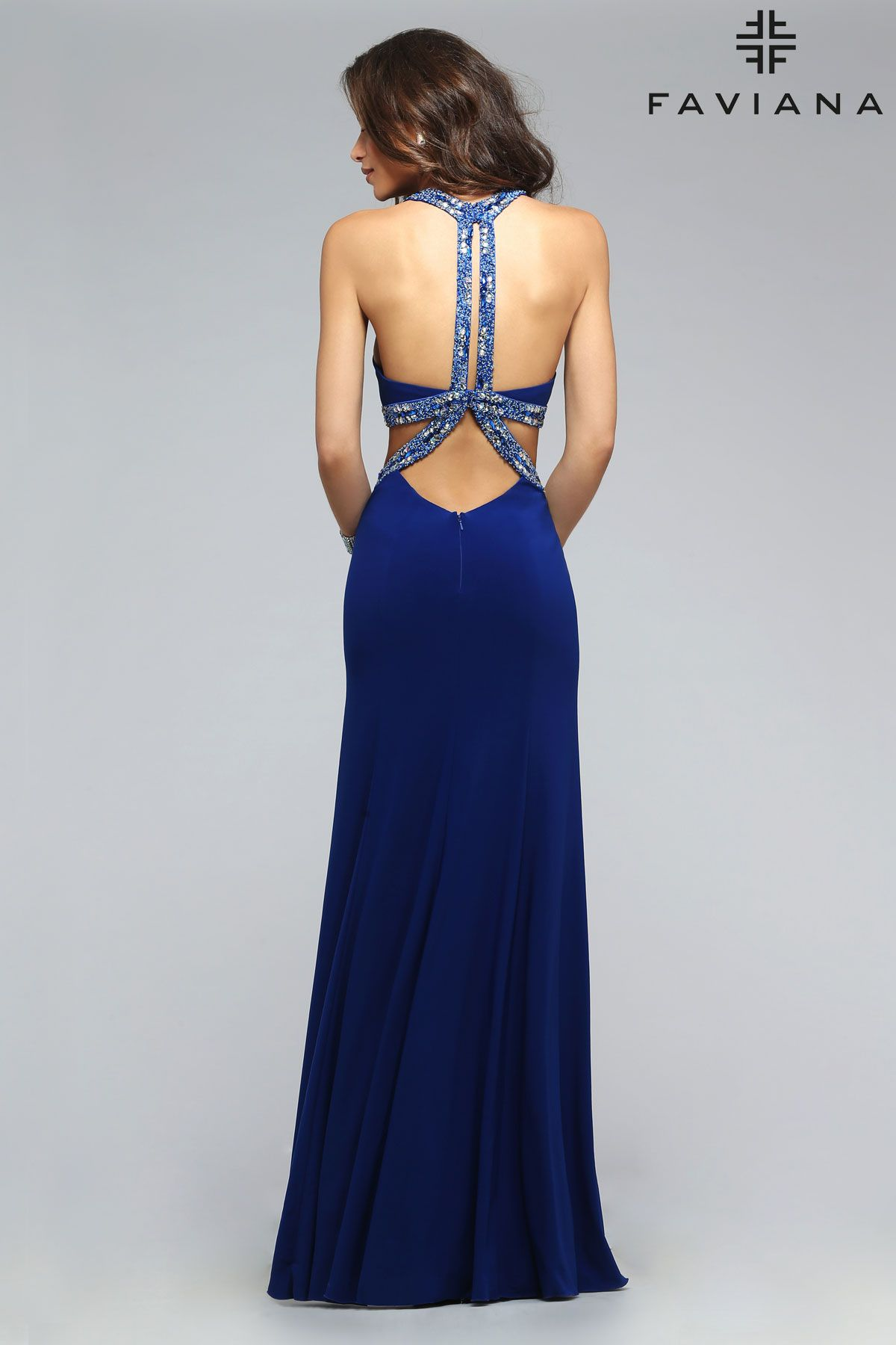 Jersey jeweled scoop neck dress with cut out side and beaded back