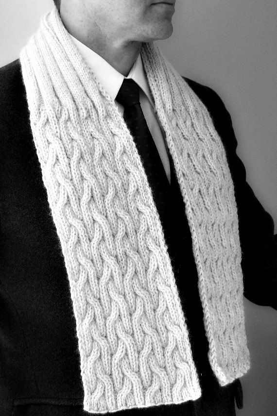 Mens knit scarf, natural, knitted cable, Winter, scarves