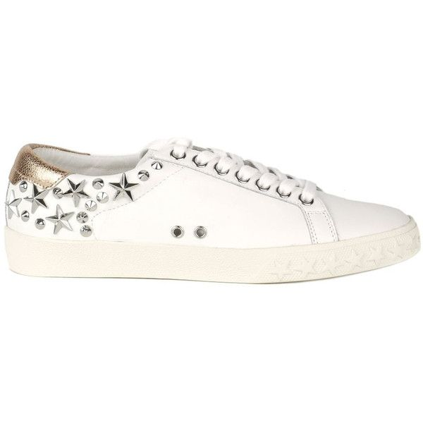Ash Dazed Studded Trainers - White & Metallic Pink (€180) ❤ liked on