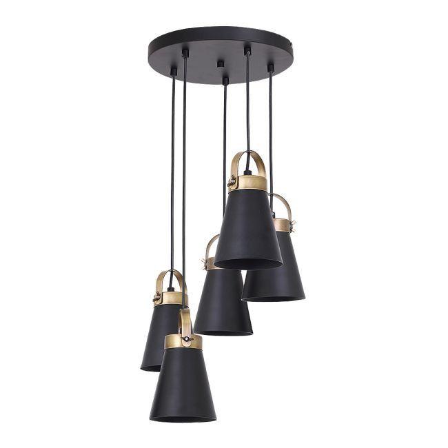 Lampa Wiszaca Atos 5 X 60 W E27 Czarna Mosiadz Lampy Wiszace Pendant Light Hanging Lamp Swag Light