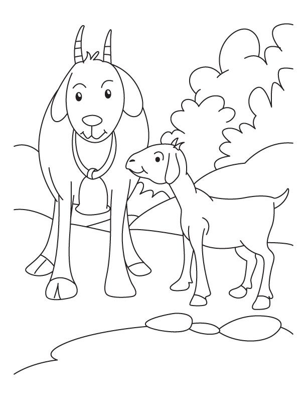 Kid With Mother Goat Coloring Pages Download Free Kid With