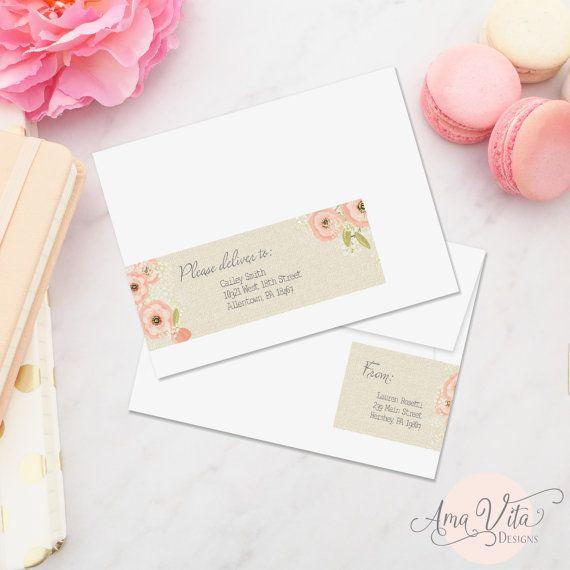 editable address label wraparound instant download invitation