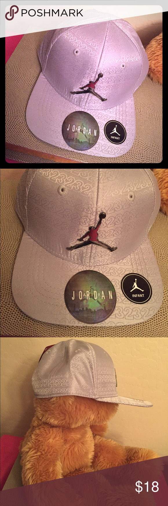3fdc983efcd7f2 ONLY 1! Jordan Infant SnapBack Cap Authentic Jordan Infant SnapBack Cap.  12-24 Months. Silver with Repeating 23 s Pattern on the Body   the Bill  (Underbill ...