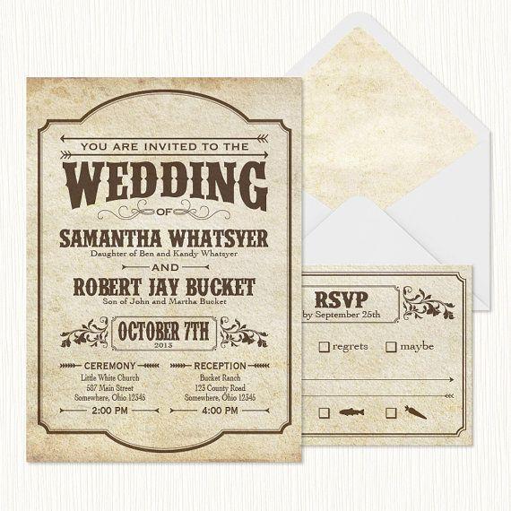 Printable Wedding Invitation Sets: Western Playbill Wedding Invitation Set PRINTABLE