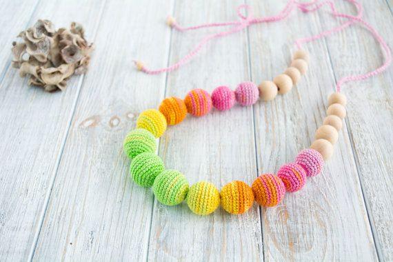 Bright nursing necklace, Crochet jewelry for mom