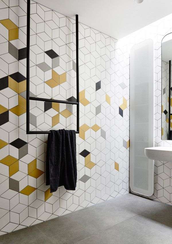 Stunning Modern Home With Unique Details Modern Bathroom Tile Yellow Bathroom Tiles Yellow Bathroom Decor
