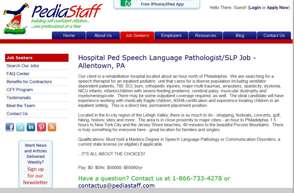 Hospital Ped Speech Language Pathologist/SLP Job