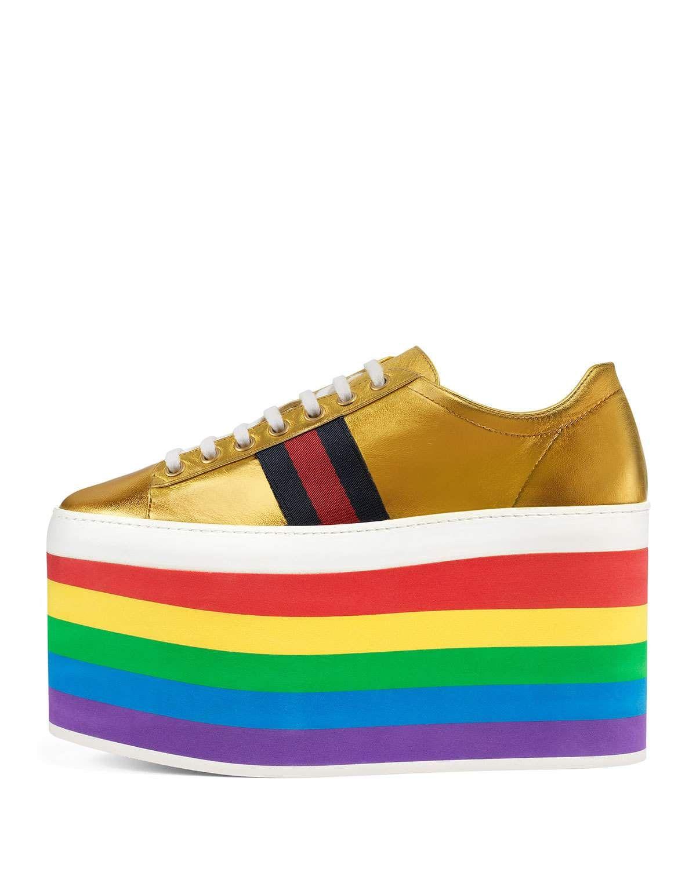97bb2d2b43c Gucci Peggy Leather Platform Sneaker