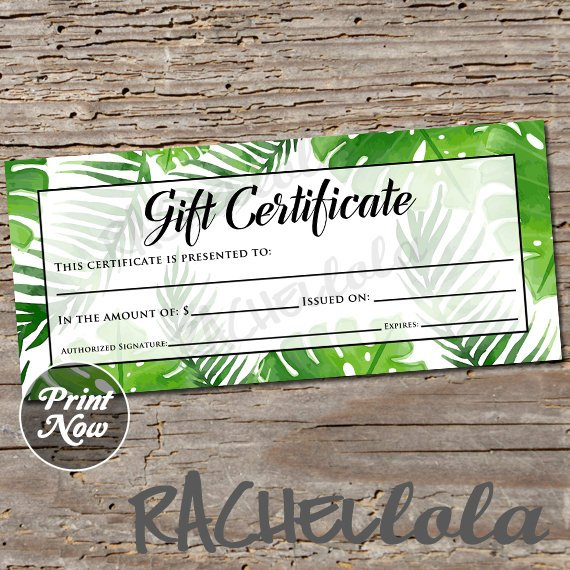 Tropical Gift Certificate Printable Template Photography Etsy In 2021 Printable Gift Certificate Gift Certificate Printable Template Gift Certificate Template