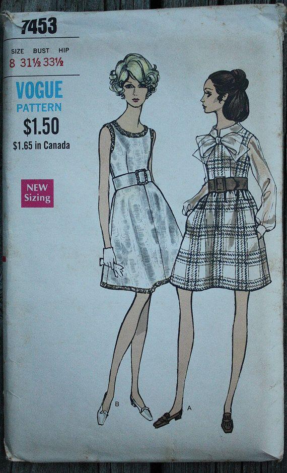 Vogue 7453 1960s 60s Mod Dress Dirndl Skirt MCM Vintage Sewing ...