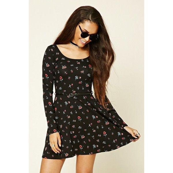 Forever 21 Women's  Floral Print Skater Dress ($15) via Polyvore featuring dresses, brown skater dress, floral dresses, forever 21 dresses, floral print skater dress and floral skater dress