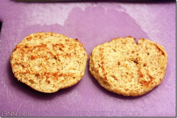 1 T (7g) coconut flour, sifted (30 cal), 2 TBSP flaxseed meal (60 cal), 1/4 cup (46g) egg whites (25 cal), 1g xanthan gum(3 cal), 1/2 teaspoon (2g) sodium-free baking powder, 2 drops stevia extract, optional, 1g/teaspoon dried onions, Pinch of garlic powder, .5 teaspoon Bragg apple cider vinegar (1 cal), 1g Kerrygold grass-fed butter, Microwave-safe bowl. mix. nuke.slice. toast. 140cal, 1.5g carbs