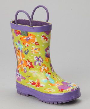 Another great find on #zulily! Lime Flower Rain Boot by Pluie Pluie #zulilyfinds