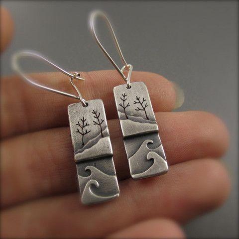 Side By Side Silver Shoreline Earrings Beth Millner Jewelry Metal Clay Jewelry Silver Jewelry Metal Jewelry