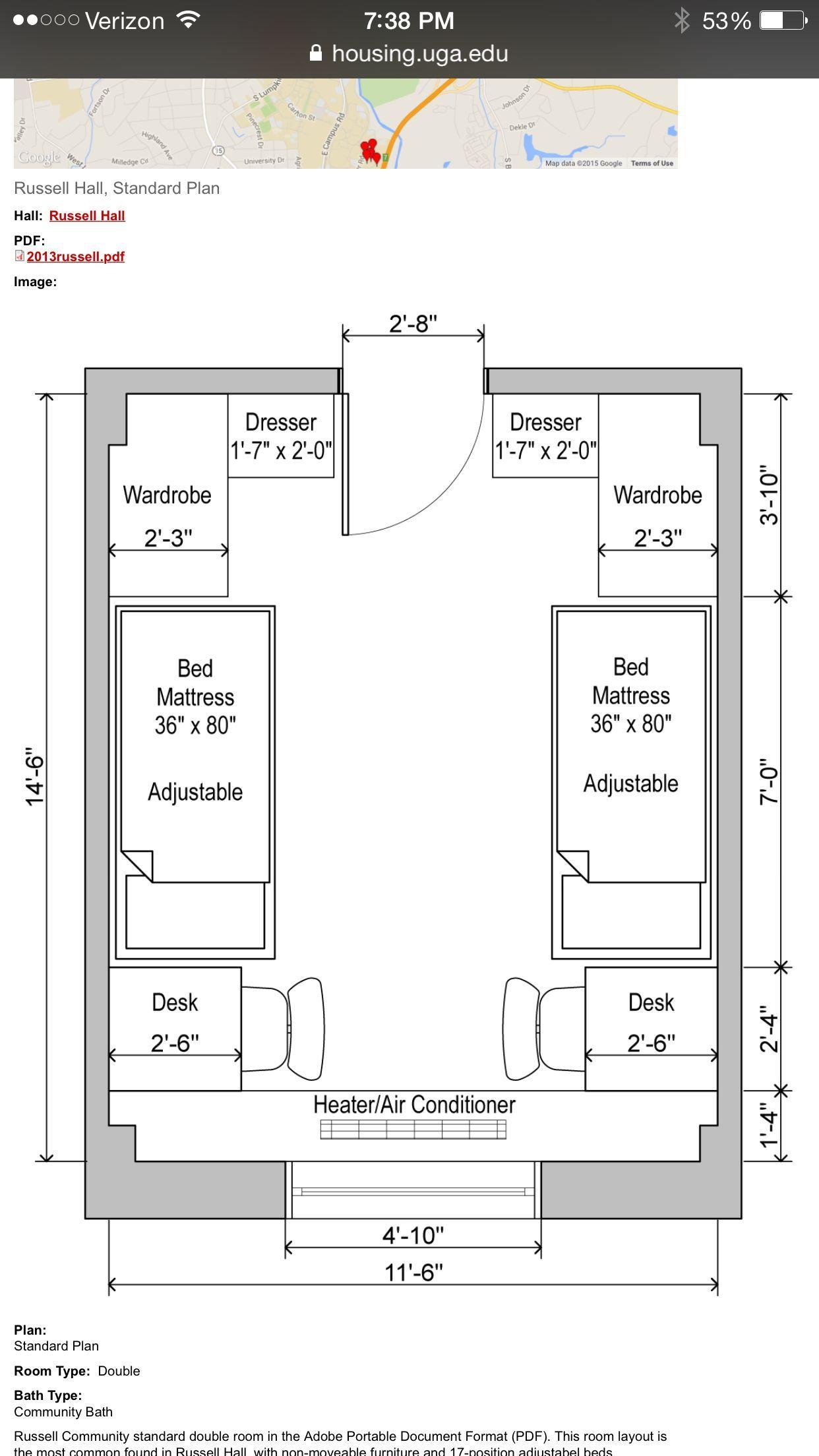 Uga Russell Hall Floor Plan Dorm Room Ideas In 2019