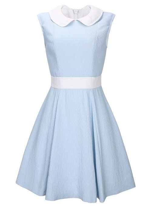 d2377082537d Anni Coco Women's Lovely Peter Pan Collar Vintage Party Dresses Small Blue