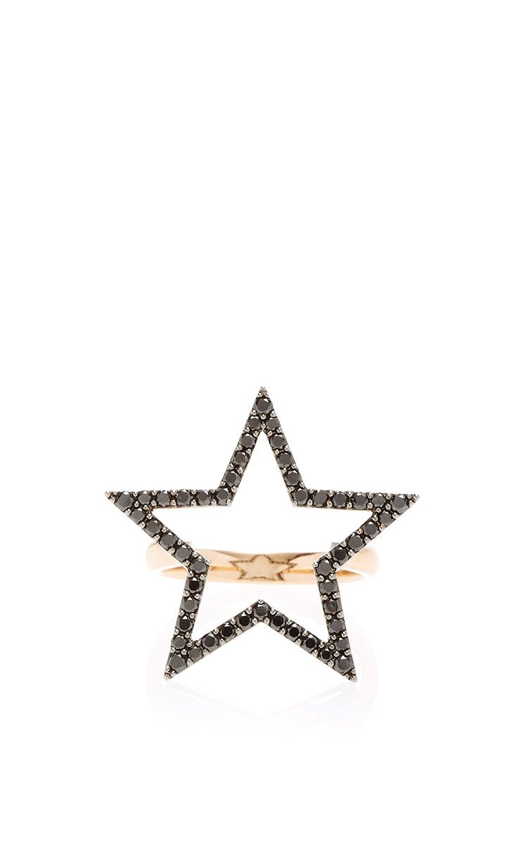 Black Diamond Star Large Ring by Rosa de la Cruz for Preorder on Moda Operandi