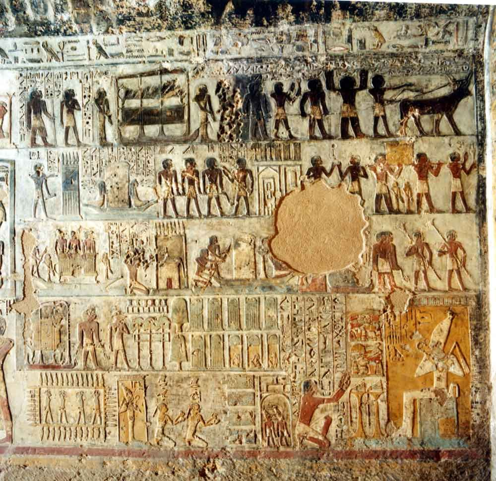 Art from amarna tomb art from ancient egypt a black for Egyptian mural paintings