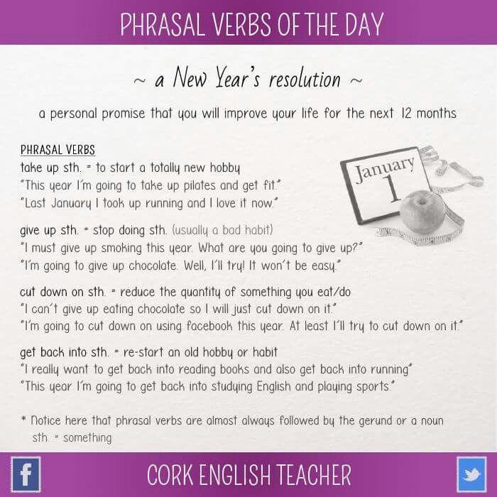 A New Year S Resolution Phrasalverbs Learnenglish English4matura Esl Lessons Learn English Learn English Grammar