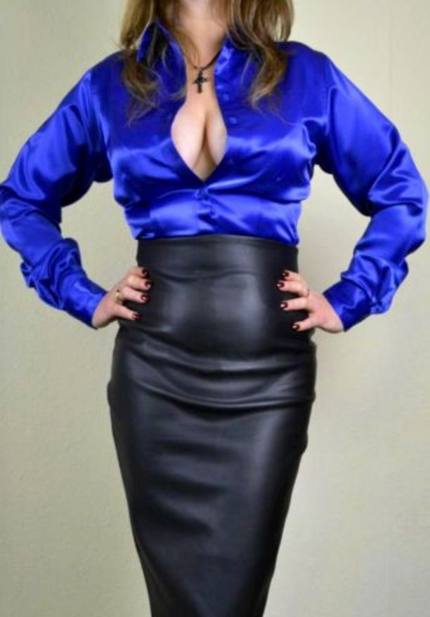 This is one sexy image. The royal blue satin blouse looks amazing ...