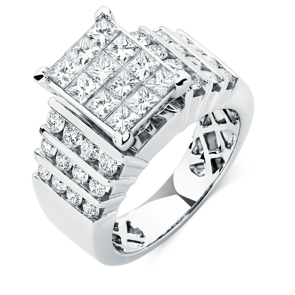 Showcase Opulence With This Attention Grabbing 14ct White Gold Ring Featuring A Total 2 Carats