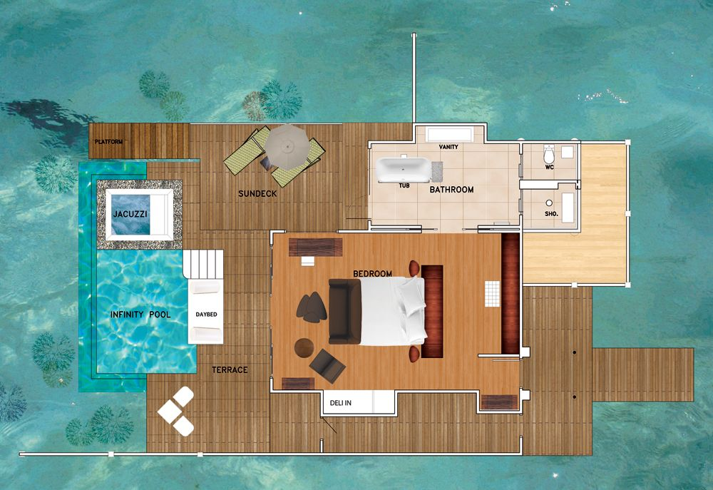 maldives beach bungalow design house floor plans | Maldives Overwater Bungalows | Niyama Water Studio with ...
