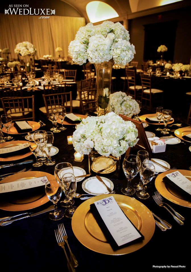 Dramatic Elegance In Black White And Gold Gold Wedding