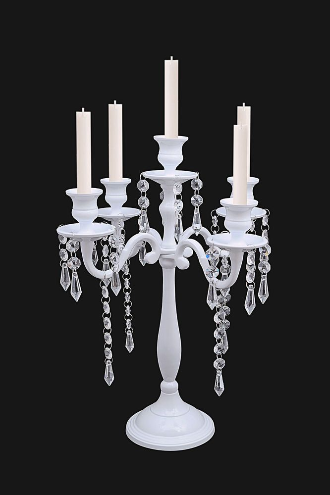 5 Arm White Crystal Candelabra Candle Holders Wedding Centerpieces