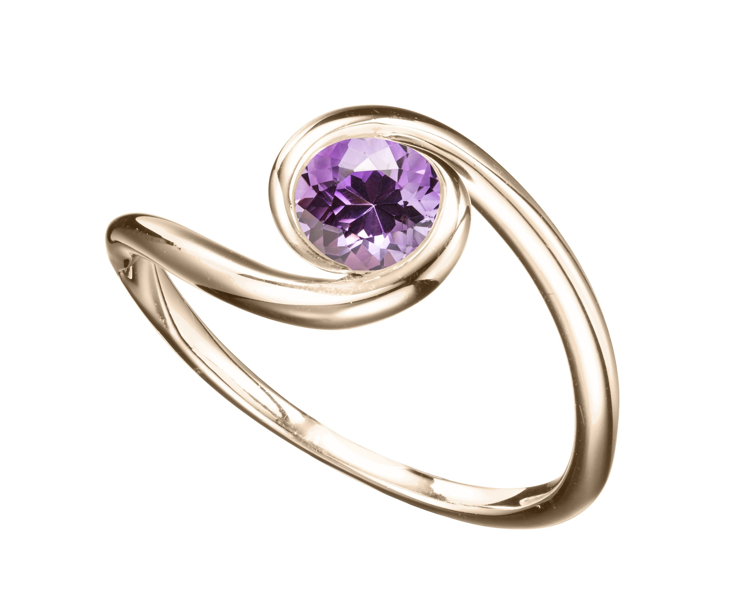 Amethyst engagement ring in yellow gold solitaire purple
