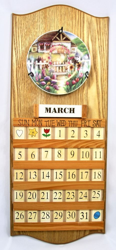 Perpetual Wooden Calendar Hanging 4 Interchangeable Plates Date - how to make a perpetual calendar