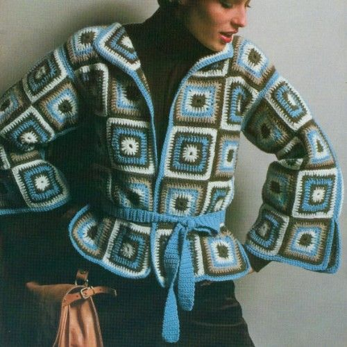 Granny Square Crochet Patterns Jackets Afghan Sweaters Pullovers
