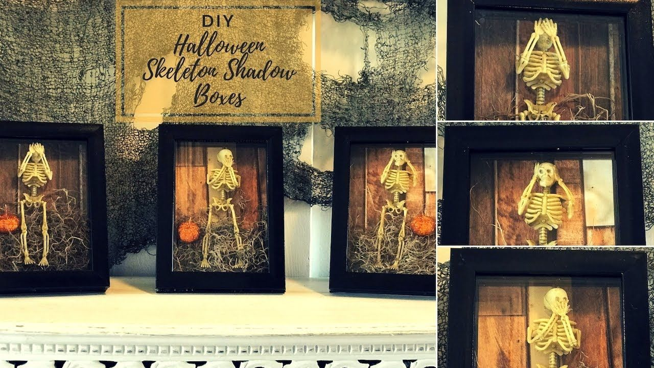 Diy easy halloween skeleton shadow box decor youtube