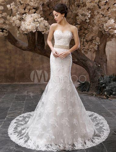 d42a4b166 Vestido de novia de tul con escote en corazón de cola larga - Milanoo.com