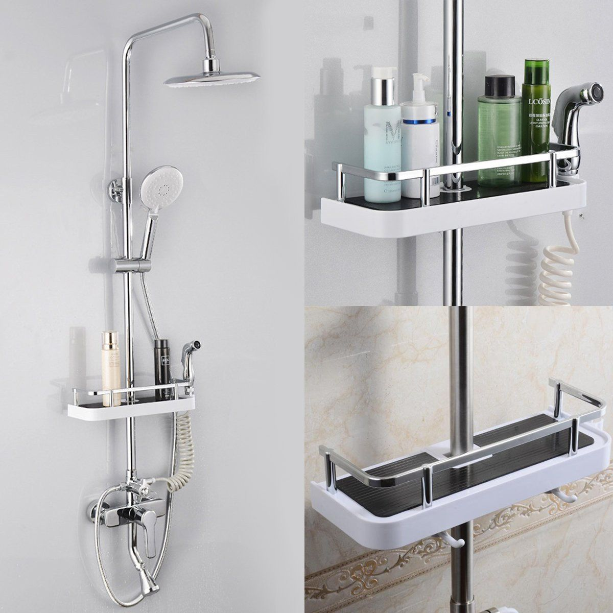 Bathroom Pole Shelf Shower Bath Storage Caddy Rack Organiser Hollow Tray Holder