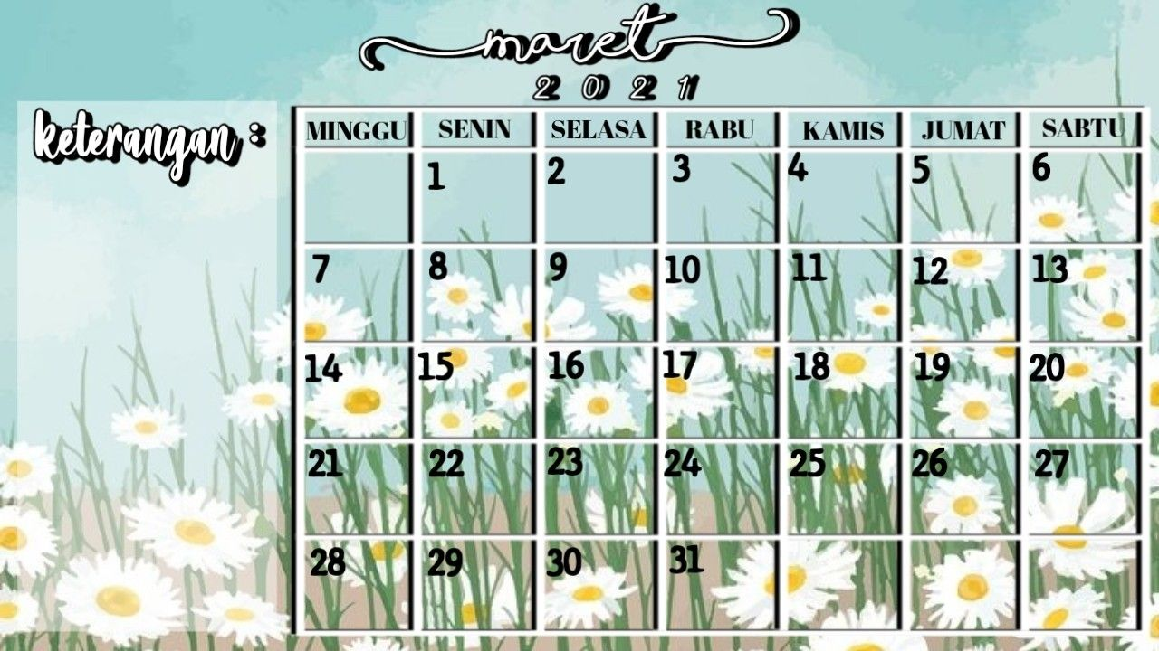 Aesthetic Kalender Maret 2021 Foto Sampul