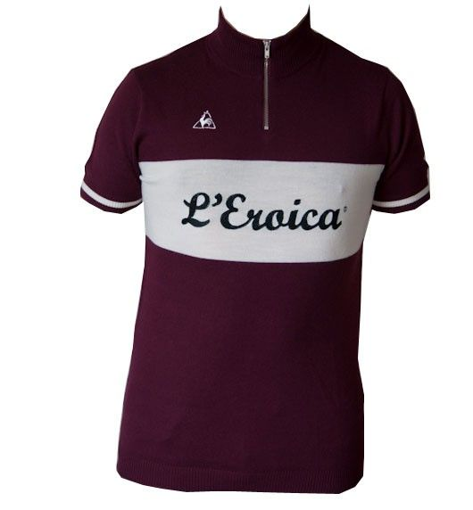 "Wool L'Eroica ""Le cocq sportif"" short sleeved bicycle jersey.  Maglia ciclista L'Eroica ""Le coq sportif"" di lana. Euro 90,00 #BicycleWear #Leroica #bike"